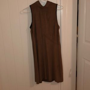 Suede brown and black shirt sleeve dress